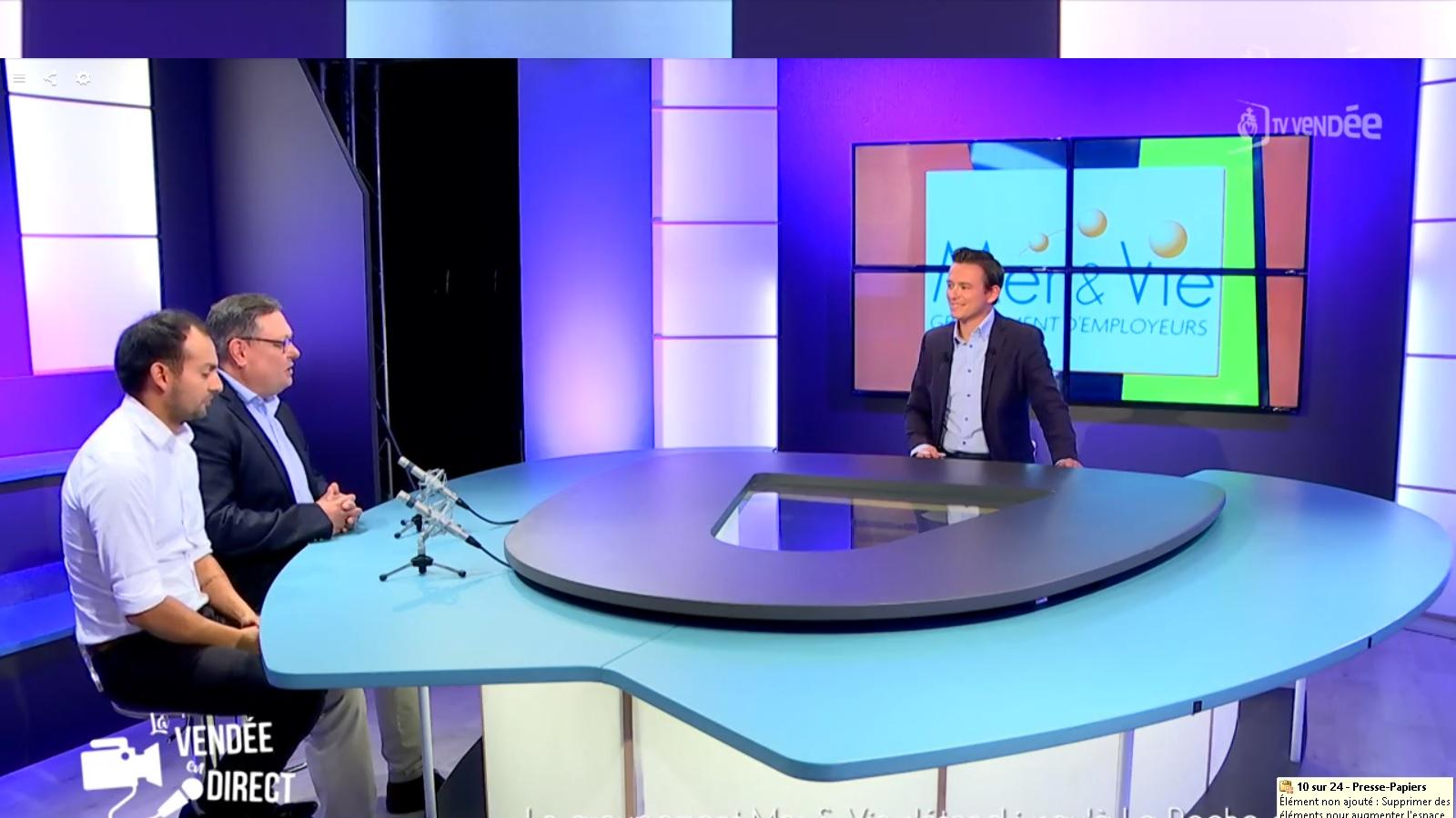 Interview du Groupement d'employeurs Mer & Vie sur TV Vendée - Le GE Mer & Vie spécialiste du temps partagé et des compétences mutualisées sur les secteurs de Saint Gilles Croix de Vie, Aizenay et la Roche-sur-Yon